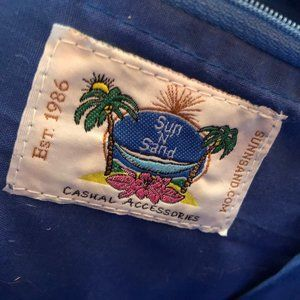 Sun and Sand Bags - New Straw and Fabric Bag with Zipper Top NWOT